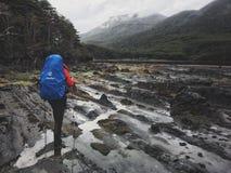 Trekking dans le Patagonia Photos stock