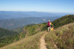 Trekking day in the mountains. At Thailand Royalty Free Stock Photo