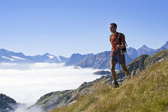 Trekking in de Alpen stock foto