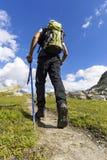 Trekking in de alpen Stock Afbeelding