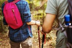 Trekking de couples ensemble dans la forêt Images stock