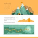 Trekking de montagne, concept augmentant, de s'élever et camper Hausse illustration libre de droits