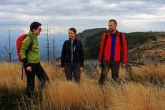 Trekking de trois amis sur la montagne Photos libres de droits