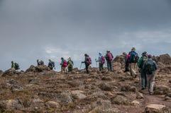 Trekking del gruppo su Kilimanjaro Fotografia Stock