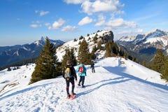 Trekking in den Alpen Stockfotos