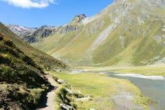 Trekking in den Alpensommerferien stockfotos