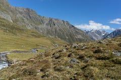 Trekking in den Alpensommerferien lizenzfreie stockbilder