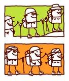 Trekking in the desert or mountain vector illustration