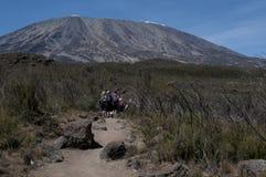 Trekking di Kilimanjaro sull'itinerario di Rongai Immagini Stock Libere da Diritti
