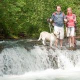 Trekking with dog Royalty Free Stock Image