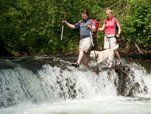 Trekking with dog Royalty Free Stock Images