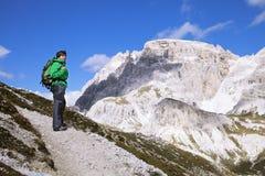 Trekking in Dolomiet, Italië stock fotografie