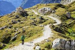 Trekking in Dolomiet, Italië stock afbeelding