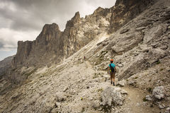 Trekking in Dolomites / Dolomiti mountains, Catinaccio / Rosenga Stock Images
