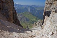 Trekking on Dolomites Stock Photo