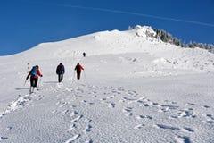 Trekking door sneeuw Stock Foto's