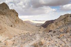 Trekking in dramatische de steenwoestijn van Negev, Israël Royalty-vrije Stock Foto