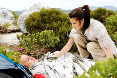 Trekking emergency injury Stock Image