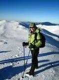 Trekking en montagnes blanches Images stock