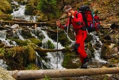 Trekking en montagnes de Carpathiens Photo stock