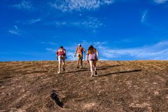 Trekking Enchanted Rock stock photos