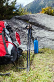 Trekking equipment in mountains Royalty Free Stock Photos