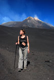 Trekking on Etna volcano (Sicily) Stock Photo