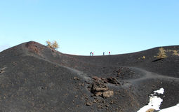 Trekking on etna volcano Stock Photos