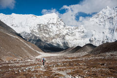 Trekking in Everest region, Nepal. View of the himalayas in Everest region, on the way to Island peak base camp Royalty Free Stock Photos
