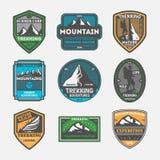 Trekking expedition vintage isolated label set. Outdoor adventure symbol, mountain explorer sign, touristic training center badge, nature hiking logo. People Stock Photos