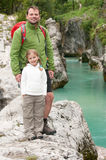 Trekking with father Royalty Free Stock Image