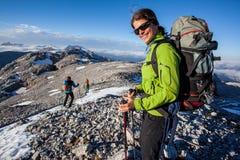 Trekking felice Fotografia Stock