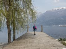 Trekking on garda lake. Mountains nature e landscape from the pier royalty free stock image