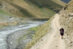 Trekking in Georgia fotografie stock