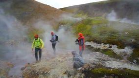 Trekking. Geothermal pool in Iceland. stock video