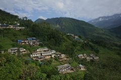 The Ghandruk village in Annapurna Circuit royalty free stock image