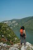 Trekking girl admiring the landscape Royalty Free Stock Image