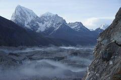 Ngozumpa Glacier and Chalatse in Himalayas royalty free stock photo