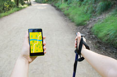 Trekking and gps Royalty Free Stock Photo