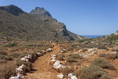 Trekking at Gramvoussa, Crete Royalty Free Stock Photo