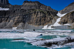 Trekking in Grinnel Lake Trail, Glacier National Park, Montana, Stock Photo