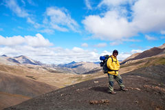 Trekking guide on the pass in the Nepal Himalaya Royalty Free Stock Image