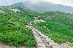 Trekking at Hakuba,Nakano,Japan. Trekking trail on Shirouma mountains in Hakuba, Nagano,Japan Royalty Free Stock Photography