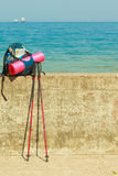 Trekking hike gear equipment for travel outdoor Stock Photo