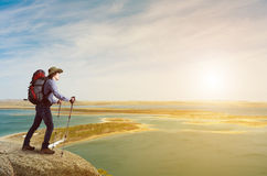 Trekking and hiking Stock Images