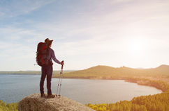 Trekking and hiking Stock Image