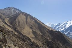 Mountain landscape in Nepal. Trekking in Himalaya mountains with snow peaks Stock Image