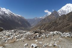 Mountain landscape in Nepal. Trekking in Himalaya mountains with snow peaks Stock Images