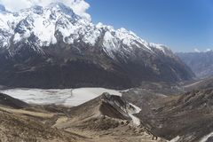 Mountain landscape in Nepal. Trekking in Himalaya mountains with snow peaks Royalty Free Stock Image