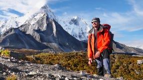 Climber Mountains, Trekking Himalayas Royalty Free Stock Photo